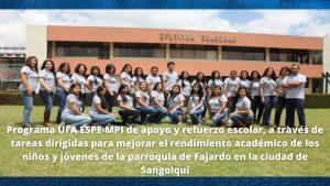 Programa UFA ESPE-MPI de apoyo y refuerzo escolar, a través de tareas dirigidas para mejorar el rendimiento académico de los niños y jóvenes de la parroquia de Fajardo en la ciudad de Sangolquí